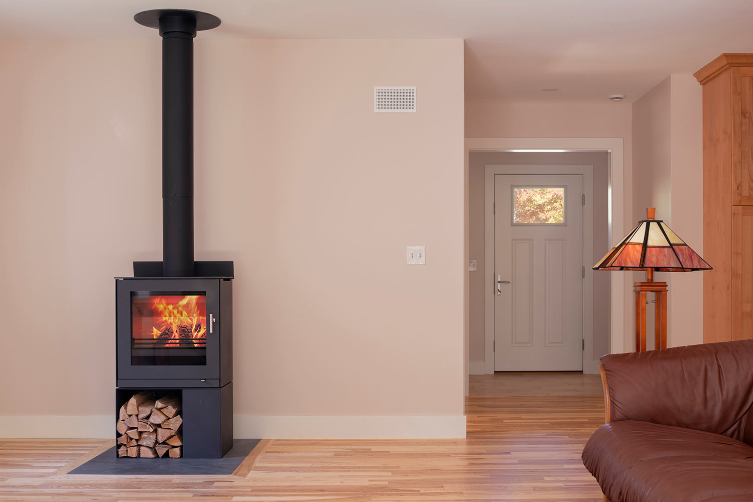 Net Zero Home in Brunswick Maine modern fireplace