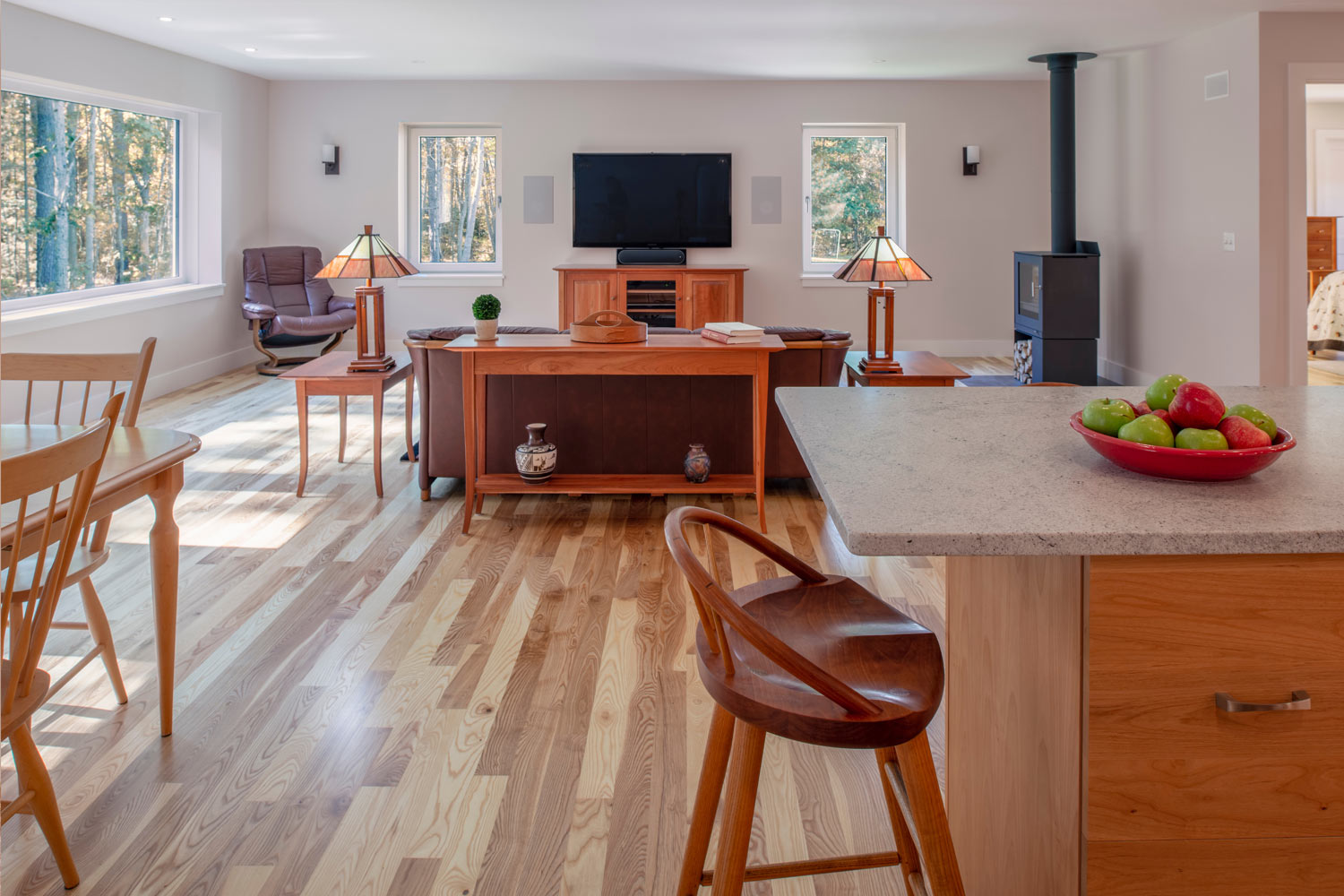 Net Zero Home in Brunswick Maine living room